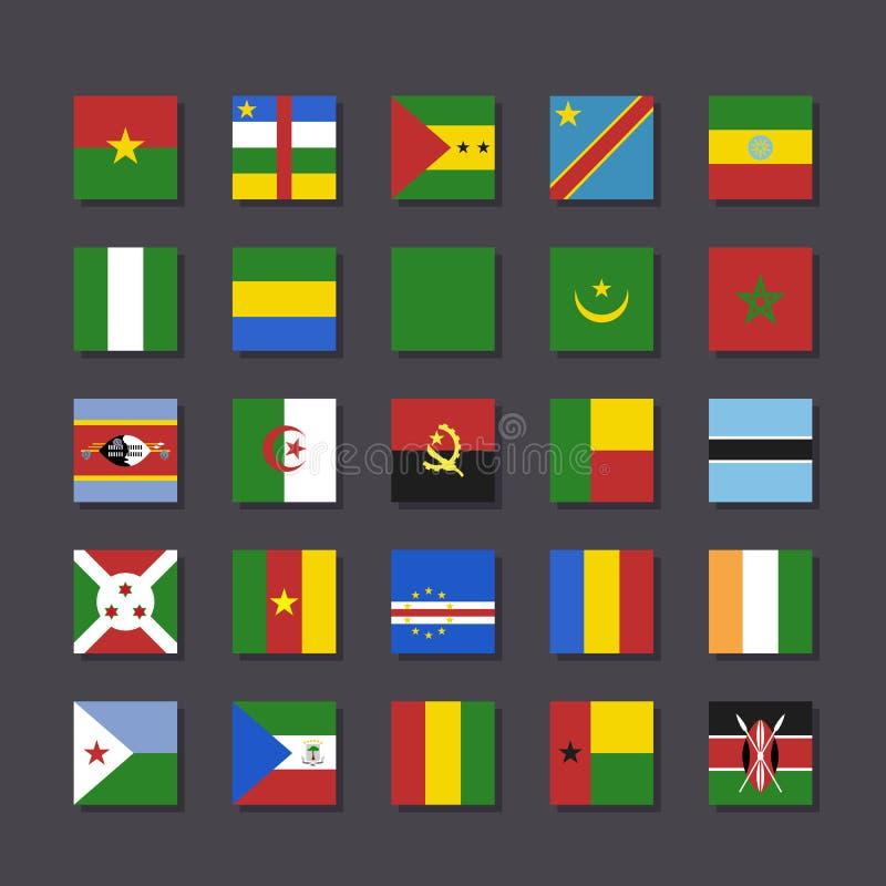 非洲旗子象集合地铁样式 向量例证