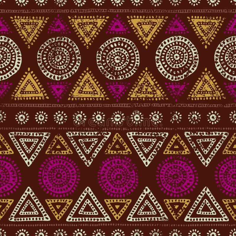 非洲无缝的印刷品 Grunge纹理 葡萄酒装饰品 部族 库存例证