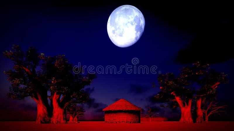 非洲村庄在晚上 免版税库存图片
