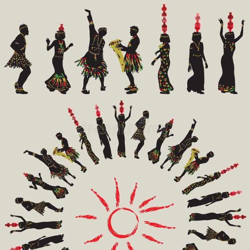 非洲民间舞 有瓶子的妇女在他们的头和人danci 免版税库存照片