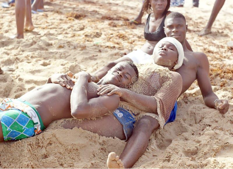 年轻非洲海滩 库存照片