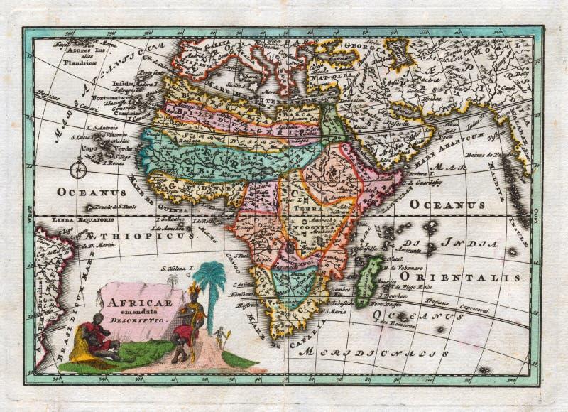 1730非洲的古色古香的地图韦格尔 免版税库存照片
