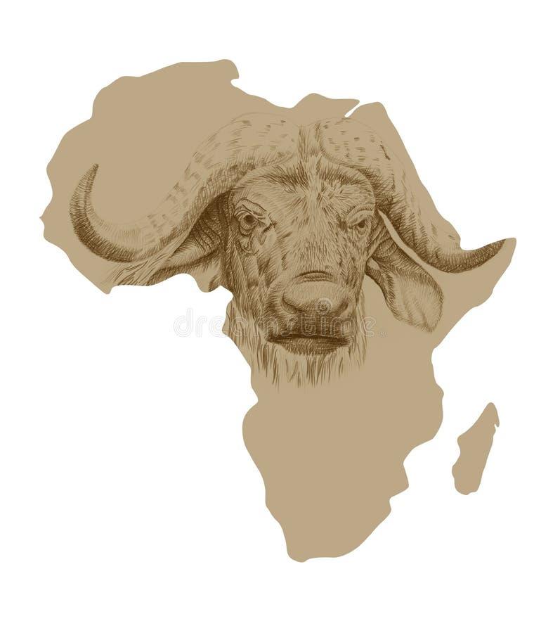 非洲的地图有拉长的水牛的 库存例证