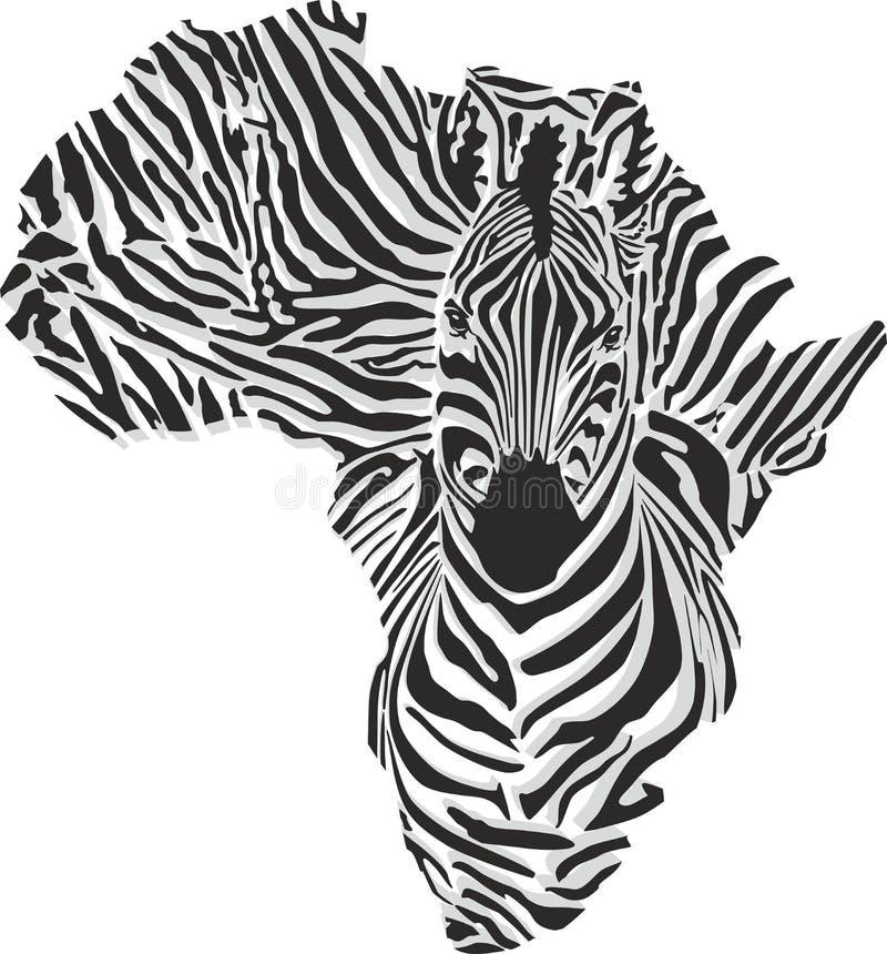 非洲的地图有顶头斑马的