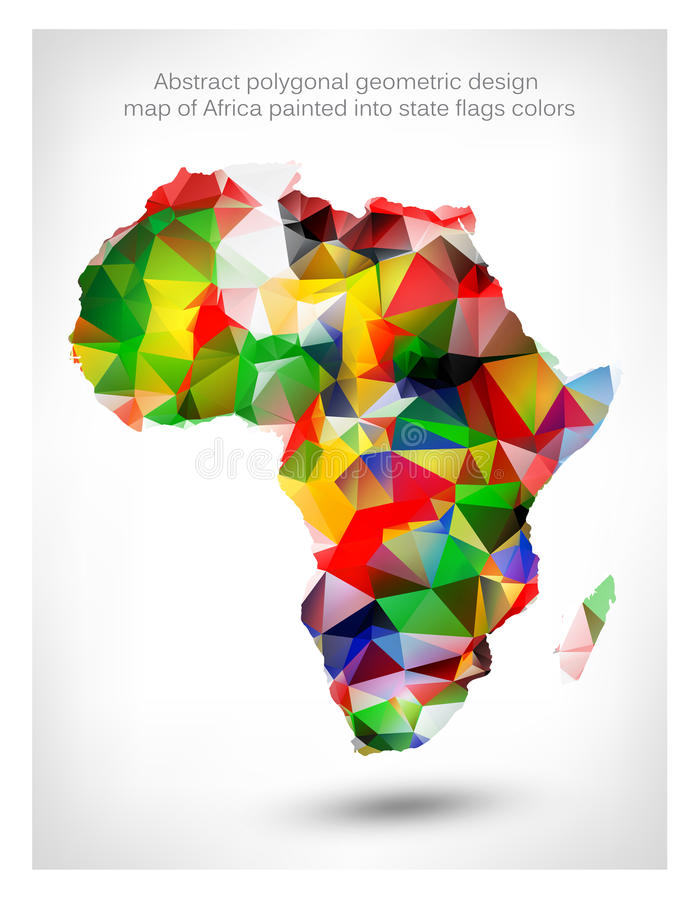 非洲的抽象多角形几何设计地图 库存例证