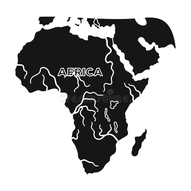 非洲的疆土 非洲在黑样式传染媒介标志股票例证网的徒步旅行队唯一象 向量例证