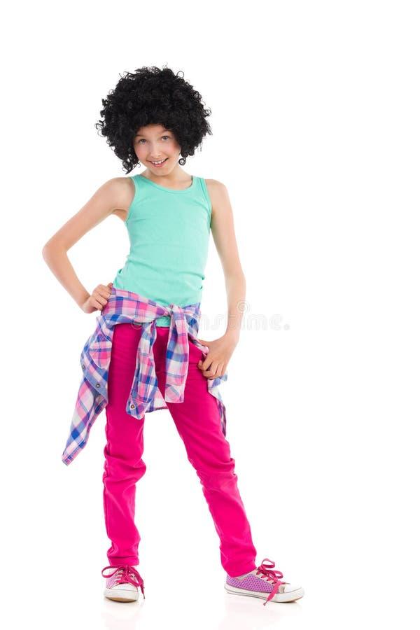 非洲的滑稽的女孩头发 免版税库存图片