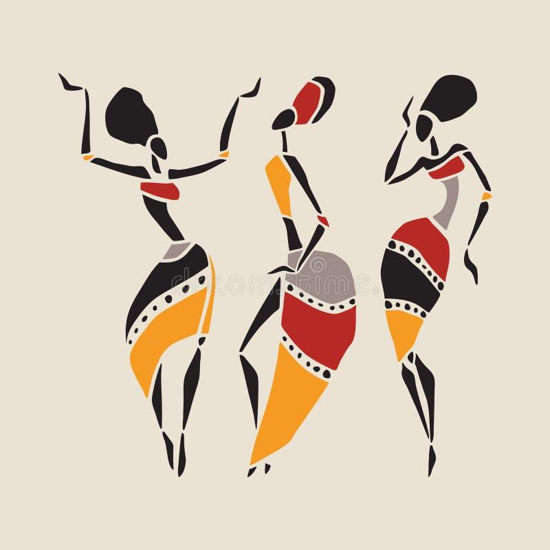 非洲舞蹈家剪影集合 皇族释放例证