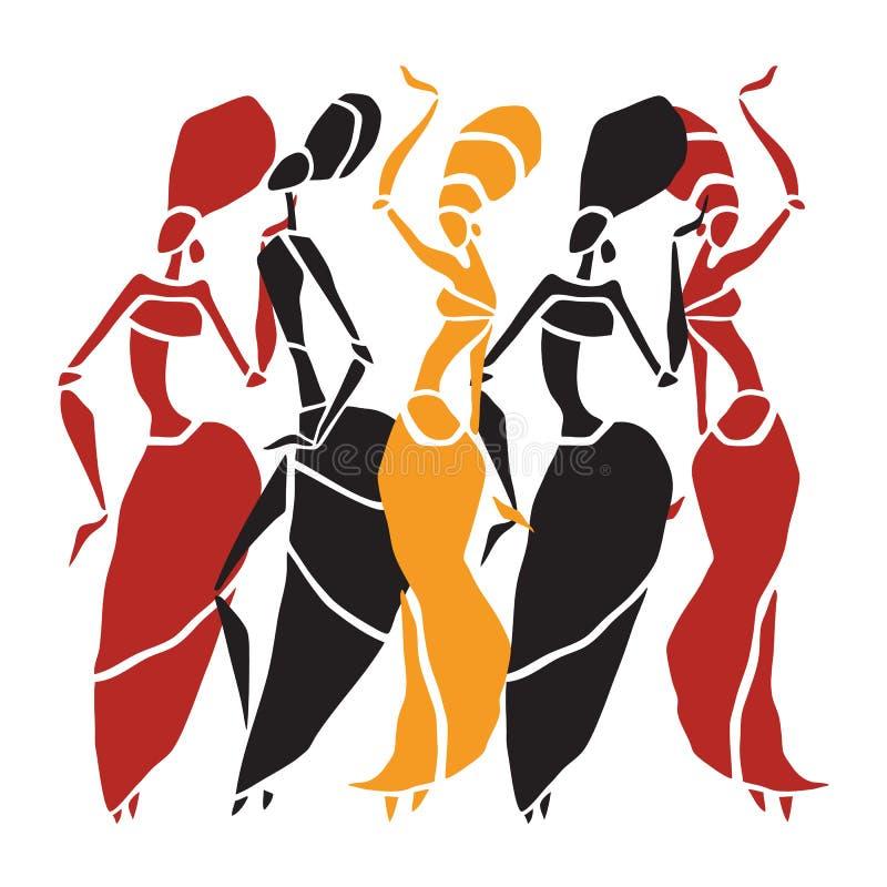 非洲舞蹈家剪影集合 向量例证