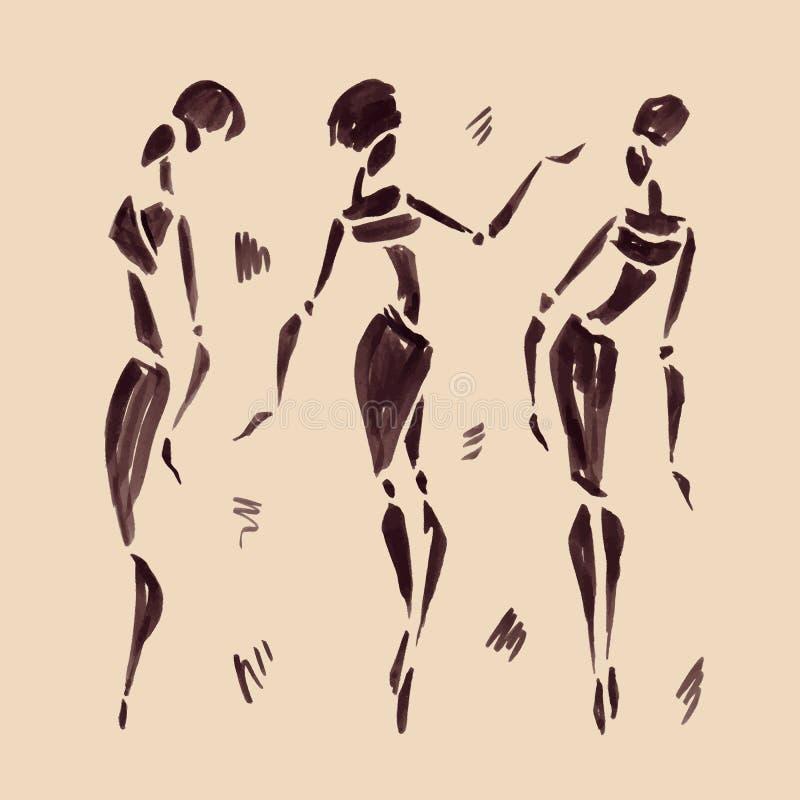 非洲舞蹈演员形象例证向量 拉长的现有量 库存例证