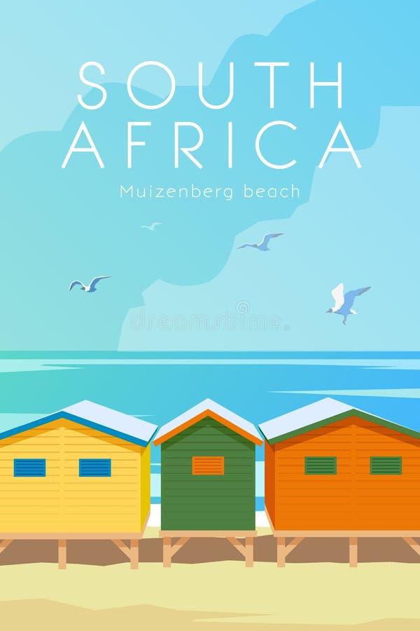 非洲著名kanonkop山临近美丽如画的南春天葡萄园 向量海报 皇族释放例证