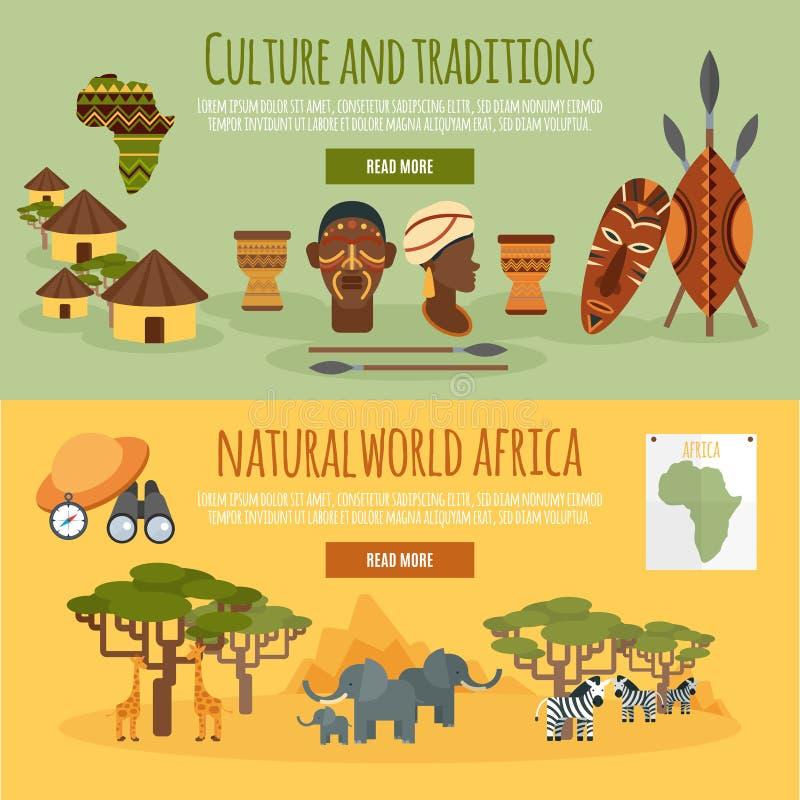 非洲被设置的2副平的横幅 向量例证