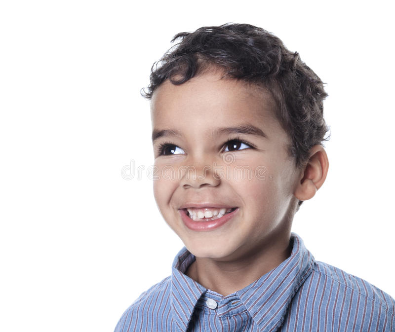 非洲裔美国人的男孩逗人喜爱的小的纵向 免版税库存图片