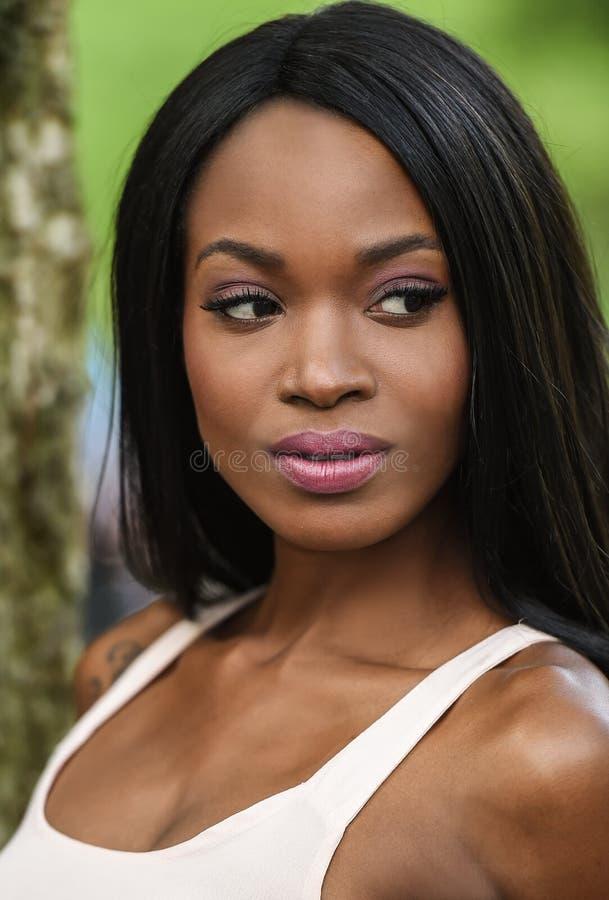 非洲裔美国人的美丽的纵向妇女年轻人 免版税库存图片