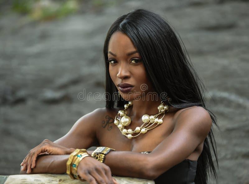 非洲裔美国人的美丽的纵向妇女 库存照片