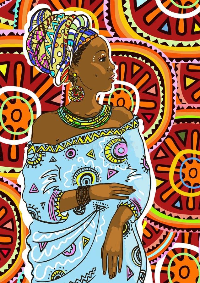 非洲裔美国人的美好的秀丽头发例证长的俏丽的沙龙向量妇女年轻人 也corel凹道例证向量 向量例证