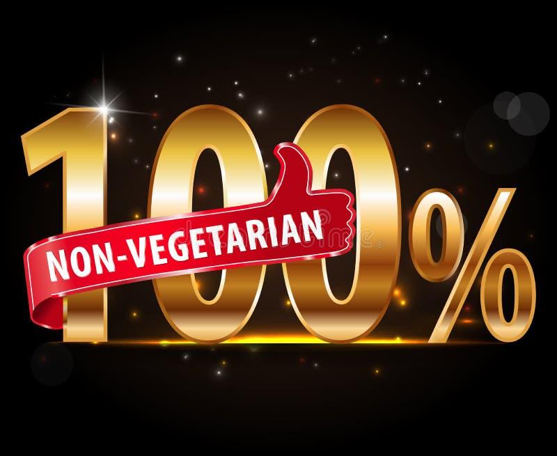 100%非素食主义者食物与红色赞许印刷术的银标签 库存例证