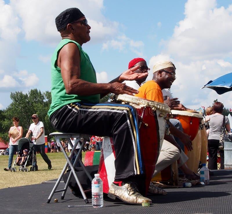 非洲鼓手埃德蒙顿的遗产天2013年 免版税库存图片