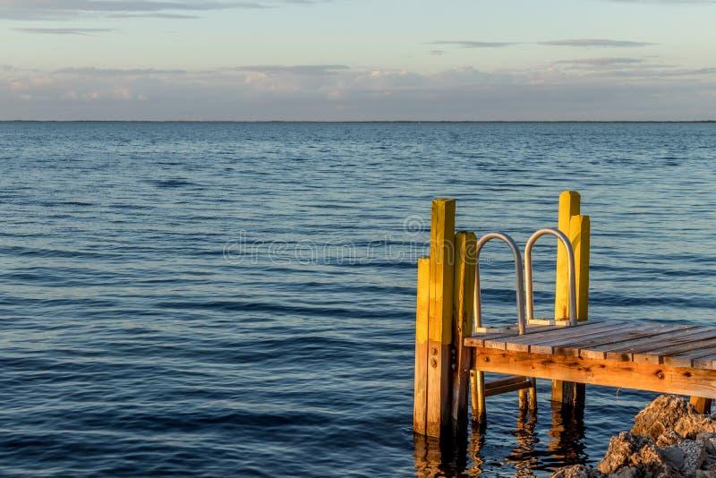 靠岸和梯子进入大西洋,佛罗里达州基拉戈 库存照片