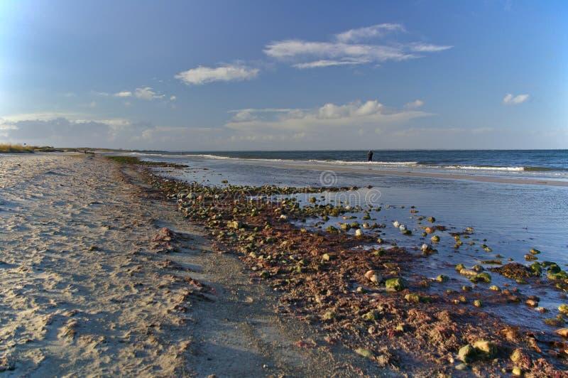 靠岸在与渔夫的日落海浪的 免版税库存照片