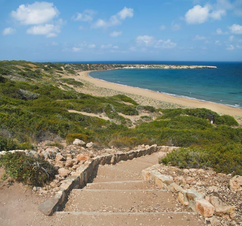 靠岸的岩石楼梯 免版税库存图片