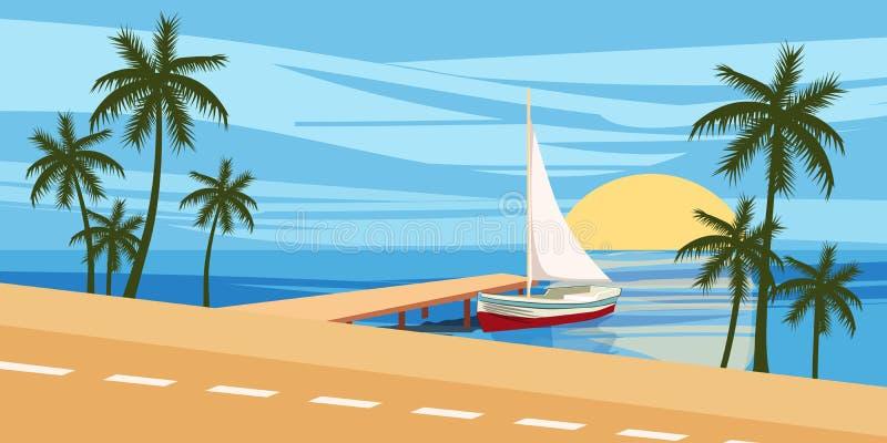 靠岸,反对海景的背景,游艇航行,棕榈树,动画片样式,传染媒介例证 向量例证