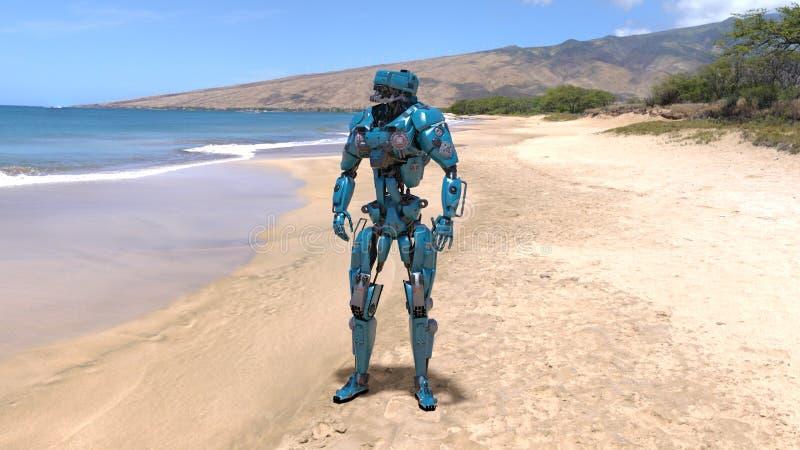 靠机械装置维持生命的人、有人的特点的机器人在海滩与海和山在背景中,机械机器人, 3D回报 向量例证