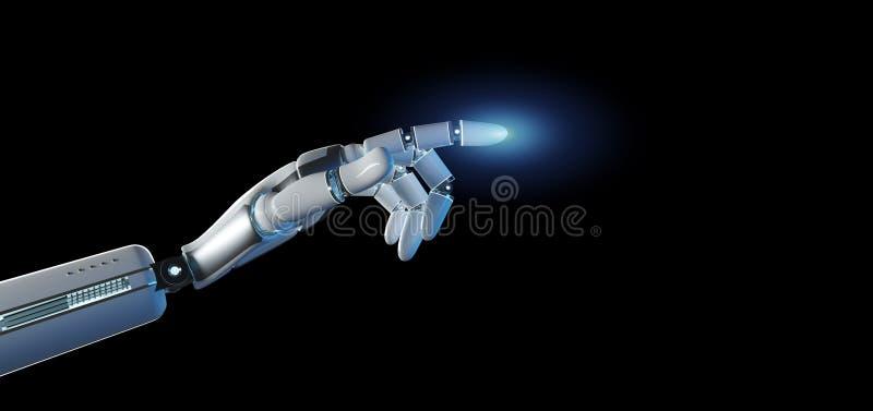 靠机械装置维持生命的人在一致的背景3d翻译的机器人手 皇族释放例证