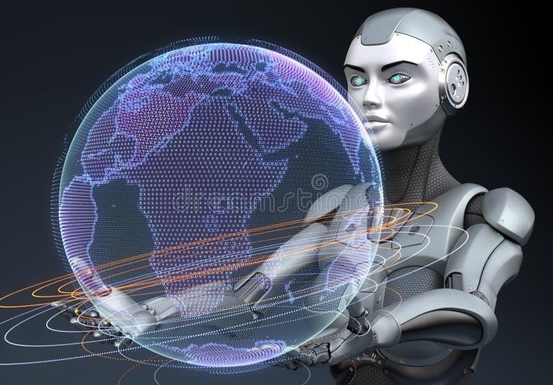 靠机械装置维持生命的人在他的手上的拿着地球的全息图 皇族释放例证