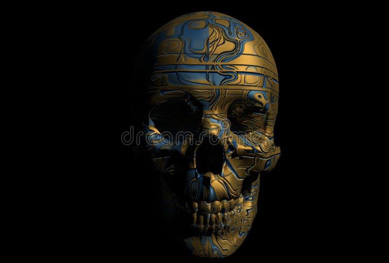 靠机械装置维持生命的人头骨 向量例证