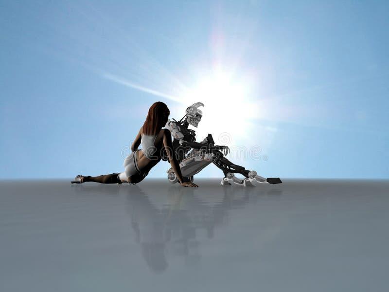 靠机械装置维持生命的人性妇女 库存例证
