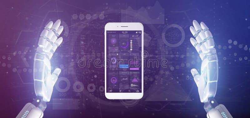 靠机械装置维持生命的人手有用户界面数据的藏品智能手机在背景隔绝的屏幕上 库存例证