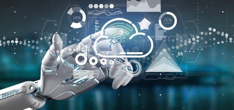 靠机械装置维持生命的人手藏品与象、stats和数据3d翻译的云彩和wifi概念 库存图片