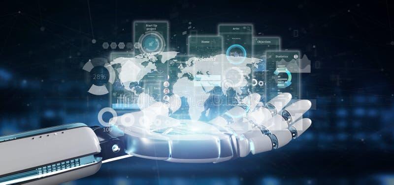 靠机械装置维持生命的人手藏品有象、stats和数据3d翻译的用户界面屏幕 皇族释放例证