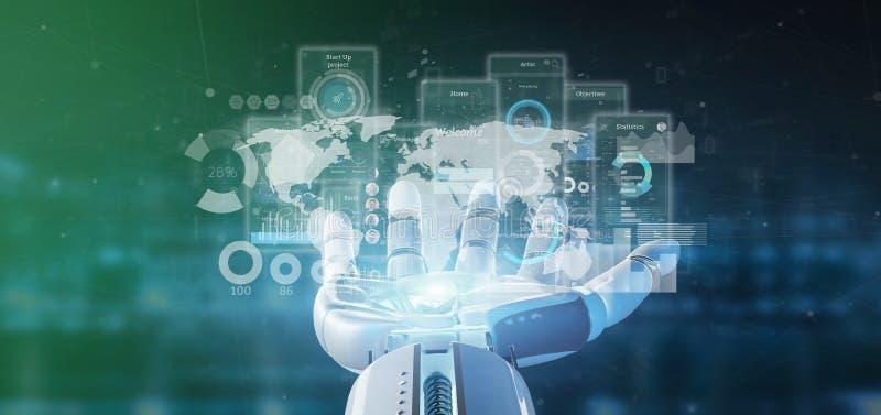 靠机械装置维持生命的人手藏品有象、stats和数据3d翻译的用户界面屏幕 库存例证