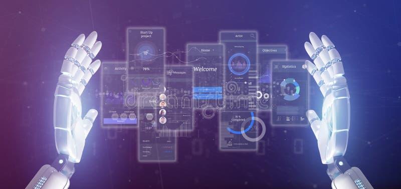 靠机械装置维持生命的人手藏品有象、stats和数据3d翻译的用户界面屏幕 向量例证