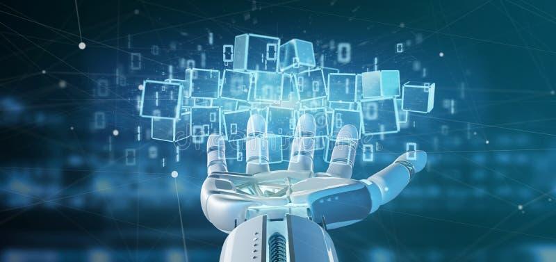 靠机械装置维持生命的人拿着blockchain立方体的云彩和二进制数据3d ren 皇族释放例证