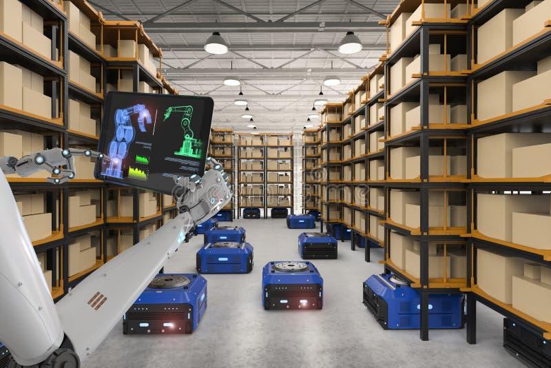 靠机械装置维持生命的人控制仓库机器人 向量例证
