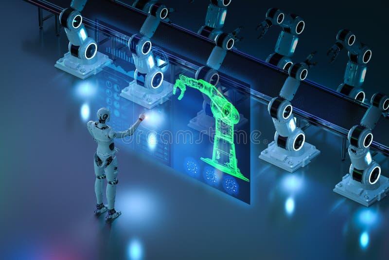 靠机械装置维持生命的人控制机器人胳膊 向量例证