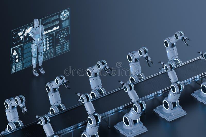 靠机械装置维持生命的人控制机器人胳膊 皇族释放例证