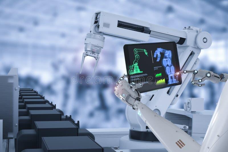 靠机械装置维持生命的人控制机器人装配线 皇族释放例证