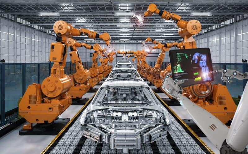 靠机械装置维持生命的人控制机器人装配线 库存图片