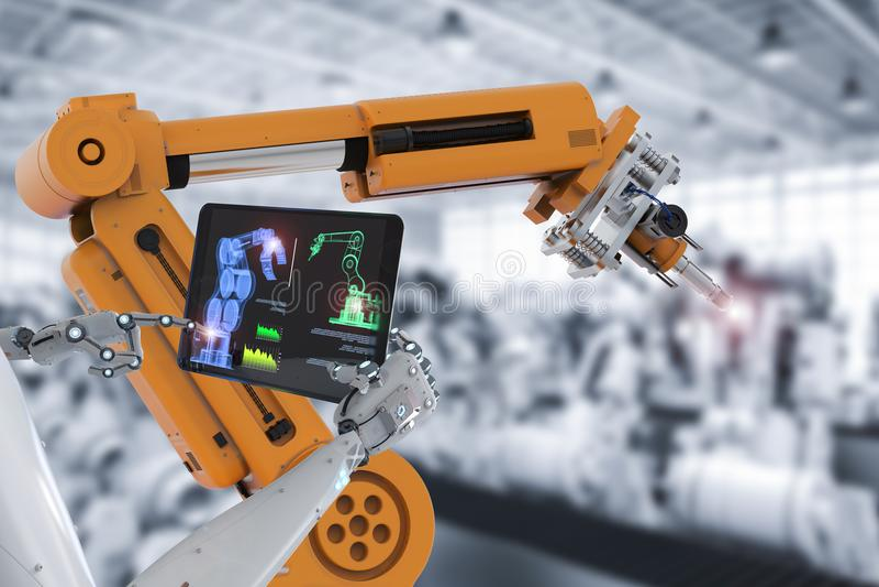 靠机械装置维持生命的人控制机器人装配线 库存例证