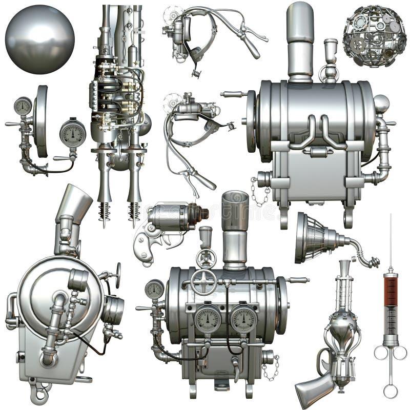 靠机械装置维持生命的人零件 库存例证