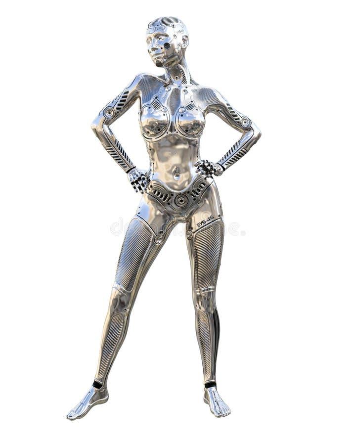 靠机械装置维持生命的人droid机器人妇女未来派金属霓虹衣服 库存例证