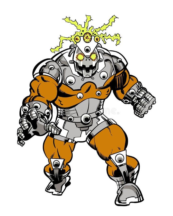 靠机械装置维持生命的人妖怪漫画书类型字符 向量例证