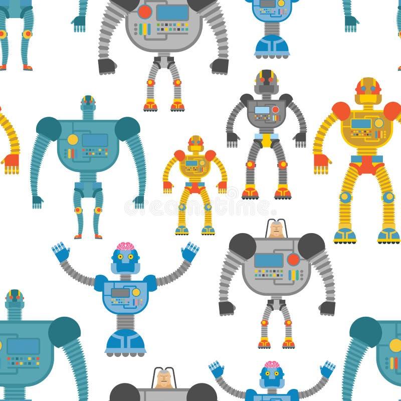 靠机械装置维持生命的人无缝的样式 可爱的色的机器人背景  M 向量例证