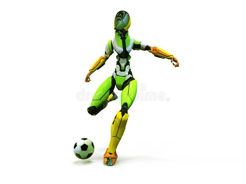 靠机械装置维持生命的人足球运动员shoots/3d机器人演奏足球干净的背景 免版税库存照片
