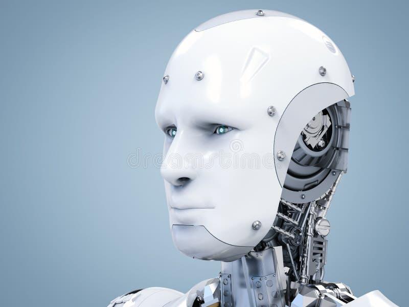 靠机械装置维持生命的人面孔或机器人面孔 免版税库存图片