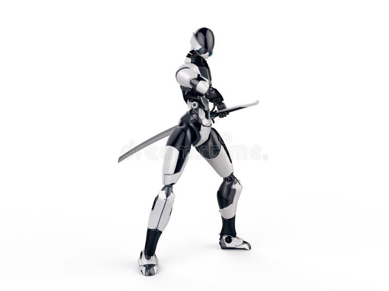 靠机械装置维持生命的人ninja/机器人战士把弄出去剑干净的背景 免版税库存照片